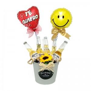 Cubeta con 6 Cervezas Corona de 355 ml y 2 Globos