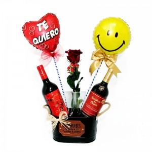 Cubeta de Vinos Diablo y Casillero del Diablo más 1 Rosa y 2 Globos