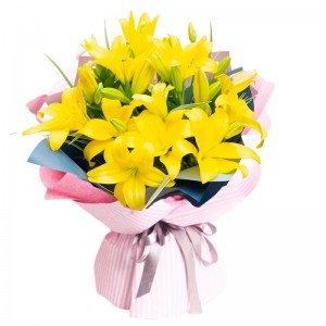 Ramo de 10 Varas de Liliums Color Amarillo