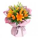 Ramo de 10 Varas de Liliums Color Naranjo