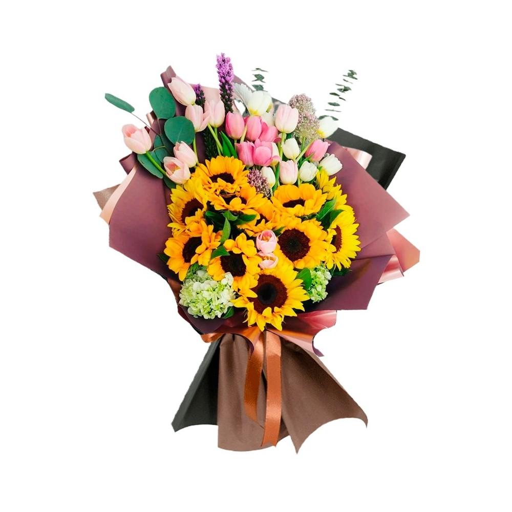Ramo de 10 Girasoles Más 20 Tulipanes Eucalipto y Flores de Temporada
